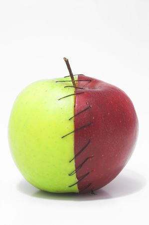 winesap apple: Red and green apple halves stitched together.