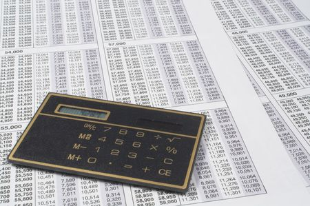 A calculator on top of tax forms.