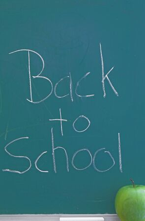 A green chalkboard - Back to school concept. Stock Photo - 1406667