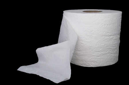 A New Roll Of White 2 Ply Toilet Paper Stock Photo