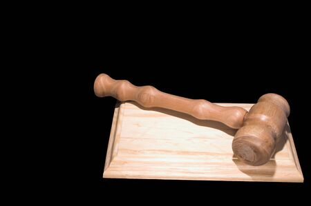 arbitrator: A judges gavel used in a court of law. Stock Photo