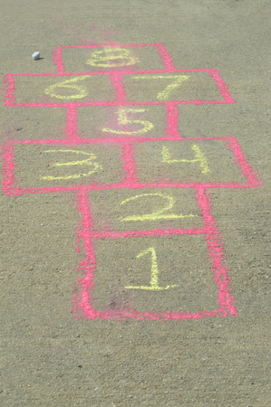 The sidewalk drawing game board of the childhood game of hopscotch. photo