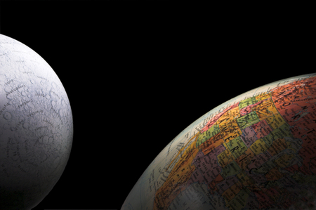outerspace: Globes - A rising crescent moon and Earth.