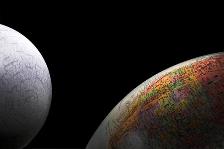 Globes - A rising crescent moon and Earth. Banco de Imagens - 1545556