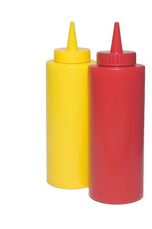 catsup: Pair of restaurant style mustard and ketchup bottles.