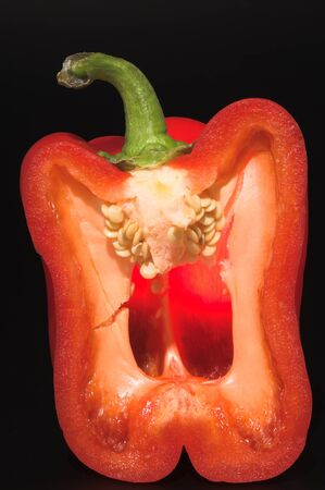 The cross section of a red bell pepper. Reklamní fotografie