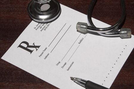 prescriptions: A blank page from a doctors drug prescription pad. Stock Photo