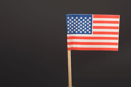 A miniature replica of the American flag on a toothpick. Stock Photo - 1849574