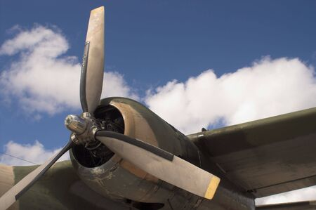 The propellor of a vintage WW II bomber.