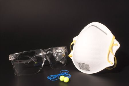 Dust mask, ear plugs and safety glasses personal protective equipment. 写真素材