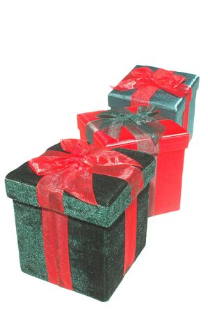 december 25th: A set of colorful seasonal Christmas present gift boxes.