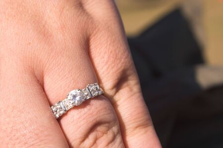 A close-up of a white gold engagement ring. Stock Photo - 2017518