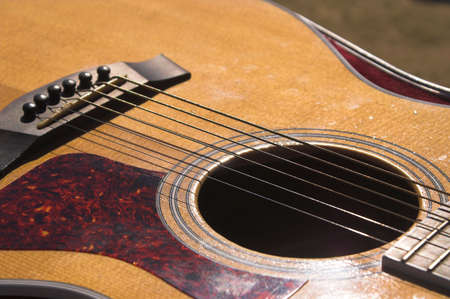 A close-up view of an acoustic guitar. photo