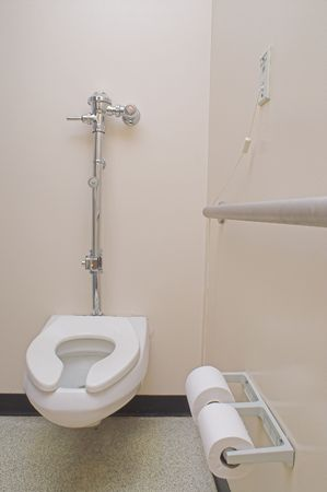 latrine: The private bathroom of a hospital patient. Stock Photo
