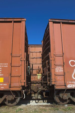 freightliner: Railway box cars in a railroad yard. Stock Photo