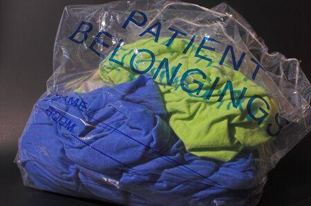 A bag full of a hospital patients belongings.