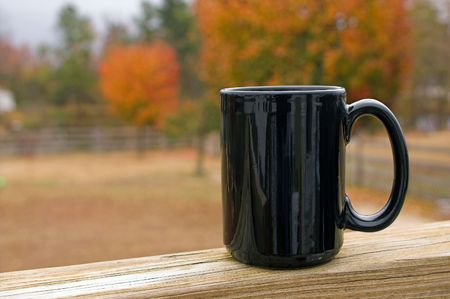 A mug of hot coffee in the morning. Stock Photo
