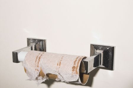 ply: An empty roll of toilet paper on a holder. Stock Photo