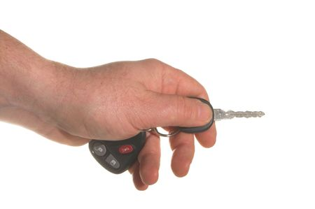 keyring: A car key and FOB and a keyring.