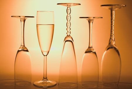 Bubbling champagne in a crystal champagne flute. photo