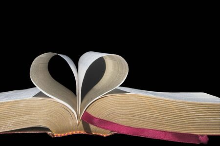 mariage: Pages of a book folded in to a heart shape.