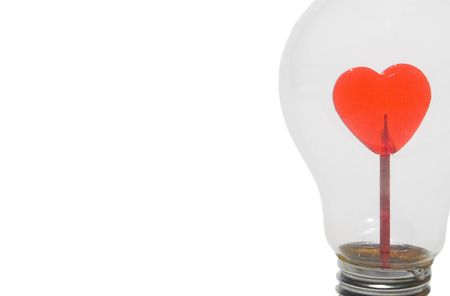 amore: A heart inside of a light bulb.