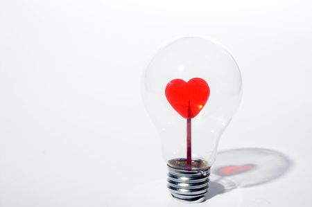 adore: A heart inside of a light bulb.