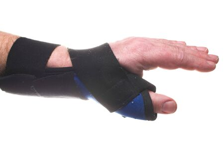 sprained: A stiff fabric brace for broken or sprained wrists.