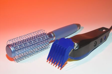hairbrush: A hairbrush and a set of shears.