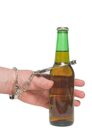impaired: An alcoholic chained to his beer bottle.
