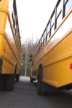 next to each other: Two school buses parked next to each other. Stock Photo