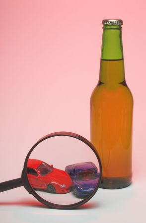 dwi: The concept if driving under the influence of alcohol. Stock Photo