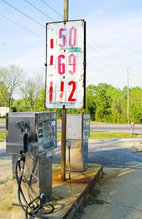 Old gas pumps with old gas prices. Stock Photo - 2909506