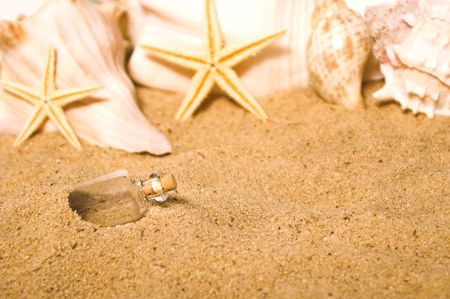 A message in a bottle buried in the sand at the beach. Stock Photo - 2997611