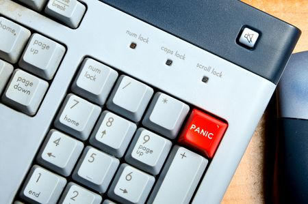 panic button: Un panico pulsante sulla tastiera di un computer. Archivio Fotografico