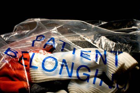 病院の患者の所有物の完全な袋。
