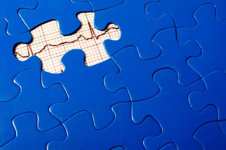 missing: A puzzle with an EKG under a missing piece.
