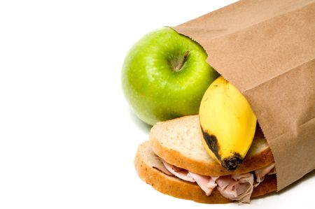 school lunch: A nutritious lunch in a brown bag.