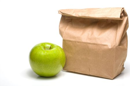 bring: A bag lunch with a Granny Smith apple.