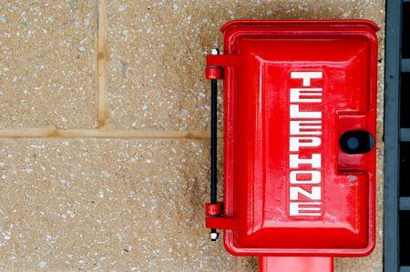 emergency call: An emergency phone in a call box.
