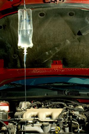 iv bag: An IV bag hooked up to a sick car.