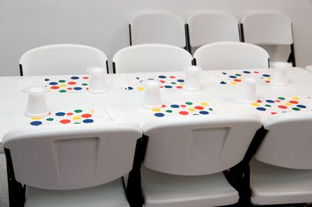 A table set up for a birthday party photo