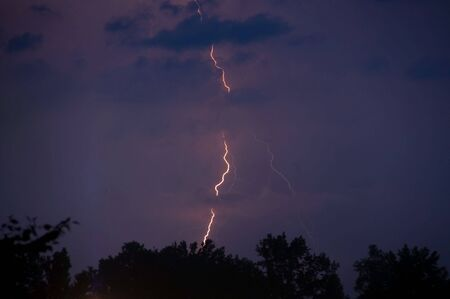 A lightening strike at night during a thunderstorm. photo