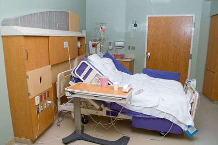 private hospital: A medical patients bed in a hospital