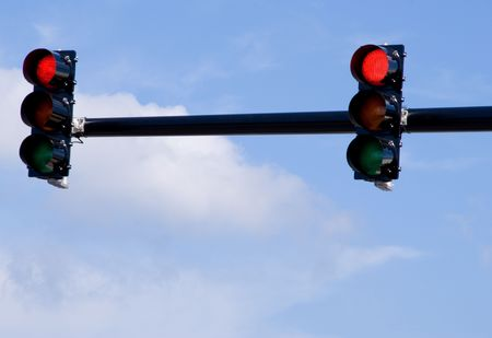A traffic light over a busy intersection. Stock Photo - 3565492