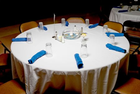 table: A banquet table at a fine gourmet event.