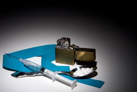 illicit: Le attrezzature utilizzate per la preparazione di droghe da strada illegali. Archivio Fotografico
