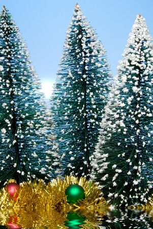 december 25th: Christmas trees covered in snow by a lake.. Stock Photo