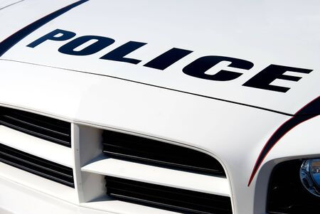 lightbar: The front end of a police car Stock Photo