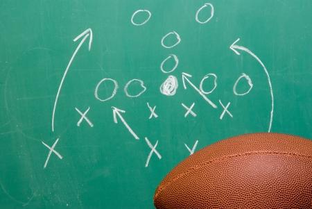 football play: Un gioco allenatori di calcio su una lavagna. Archivio Fotografico